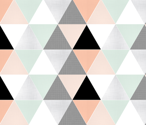 Coral // Mint Sketch Triangle Quilt fabric by tycdesignco on Spoonflower - custom fabric