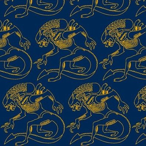 Navy Gold xenomorph half brick repeat