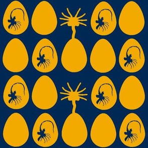 Alien eggs and facehuggers-Navy & Gold