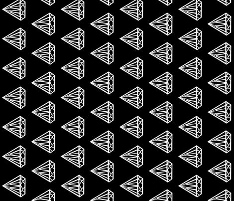 diamond black and white jewel gem railroad fabric by charlottewinter on Spoonflower - custom fabric