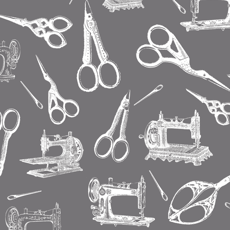 Vintage Sewing Supplies on Grey - Large fabric by thinlinetextiles on Spoonflower - custom fabric