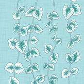 String of Hearts, Pastel Blue Green Linen