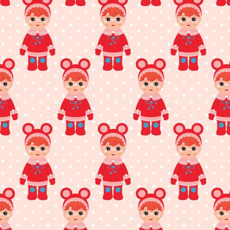 LapinsLutins-Red fabric by leventetladiscorde on Spoonflower - custom fabric