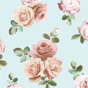 Vintage Rose Floral on duck egg blue - large