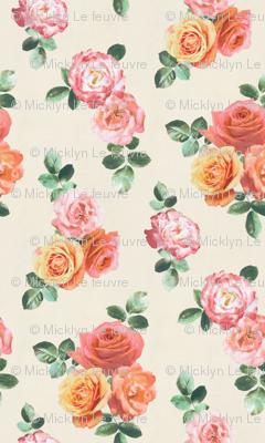 Vintage Textured Rose Floral on cream - large