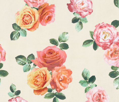 Vintage Textured Rose Floral on cream - large fabric by micklyn on Spoonflower - custom fabric