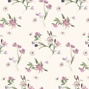 Scattered Floral on Cream - small version