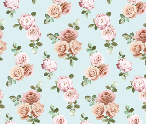 Vintage Rose Floral on duck egg blue - small fabric by micklyn on Spoonflower - custom fabric