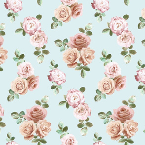 Vintage Rose Floral on duck egg blue - small
