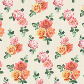 Vintage Textured Rose Floral on cream - small