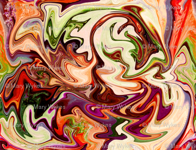 BNS7 - Large  Marbled Mystery Swirls in Brown, Orange and Green