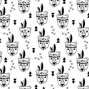 Cool geometric scandinavian style indian summer animals bear black and white