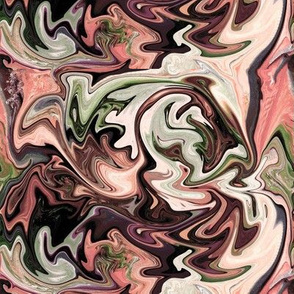 BNS1 -  Marbled Mystery Swirls in  chocolate brown,  green, and pastel orange - medium scale