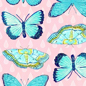butterfly  raindrops summer pink and turquoise // by Magenta Rose Designs