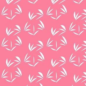 Snowy White Oriental Tussocks on Rosy Pink