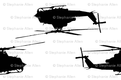 Huey helicopters in black with white background
