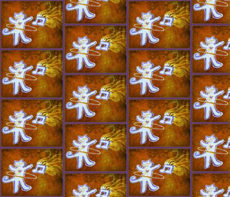 Hula Hooping Dance Party Cat fabric by batikwalla on Spoonflower - custom fabric