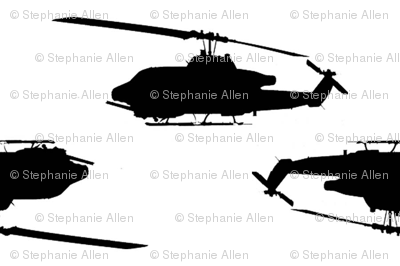 Cobra Whiskey helicopters in offset pattern black with white background