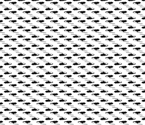 Cobra Whiskey helicopters in offset pattern black with white background fabric by thread_sa on Spoonflower - custom fabric