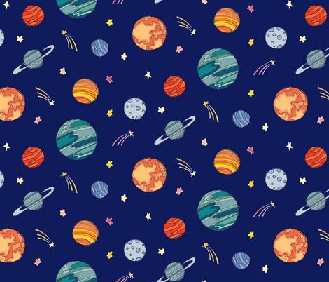 Planets fabric by lprspr on Spoonflower - custom fabric