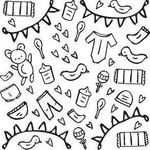 Nursery Doodles Black and White