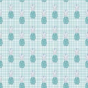 Floral Pineapple Plaid Teal