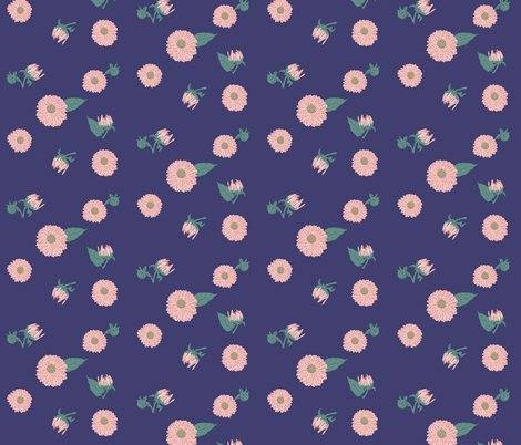 Light Pink Dahlias On Navy Blue Background Fabric By Lisamariec On  Spoonflower   Custom Fabric