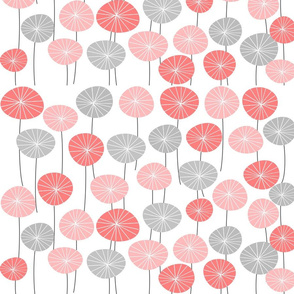 Dandelion Clocks Pink and Grey