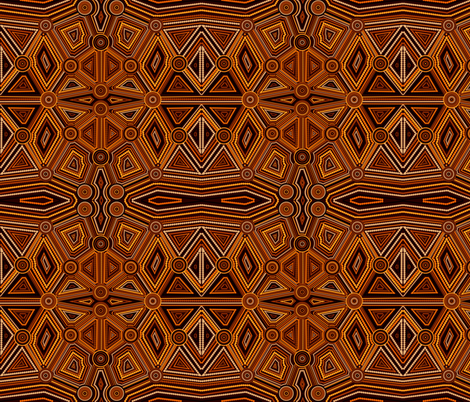 Australian aboriginal art brown fabric by julia_faranchuk on Spoonflower - custom fabric