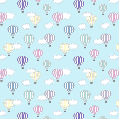 Hot Air Balloon Turquoise Air Cloud Baby Kids Nursery