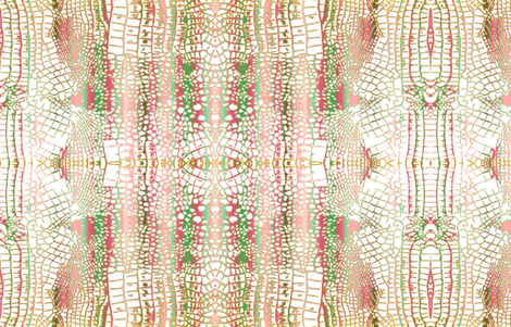 Alligator Skin pink green gold fabric by jenlats on Spoonflower - custom fabric