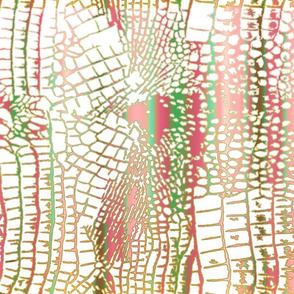 Alligator Skin pink green gold