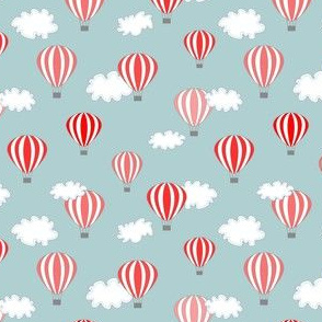 Hot air balloon // red grey blue air clouds print kids baby nursery design