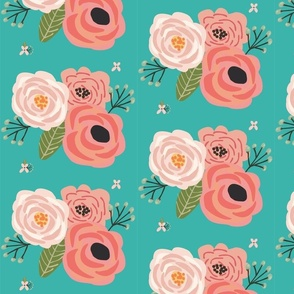 Summer Floral Blooms Teal - Teal Floral - flowers