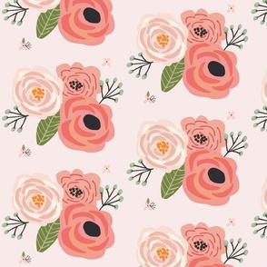 Summer Floral Blooms Pale Pink - pink floral - flowers