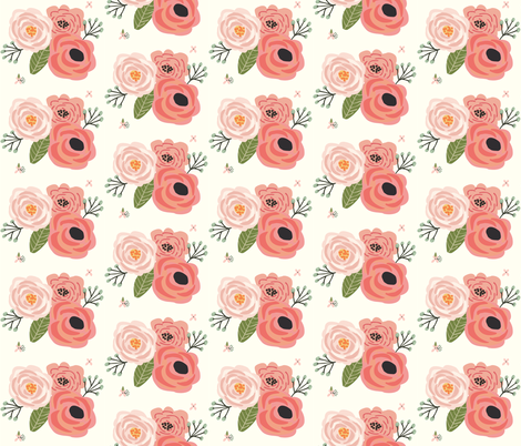 Summer Floral Blooms Ivory - Ivory Floral - flowers fabric by modfox on Spoonflower - custom fabric