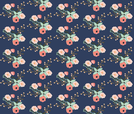 Summer Floral Navy - Navy Floral - flowers fabric by modfox on Spoonflower - custom fabric