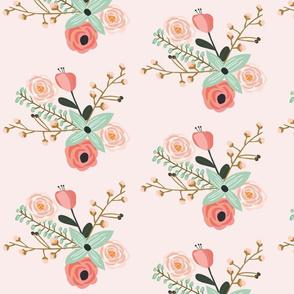 Summer Flora Pale Blush - Pink Floral - flowers