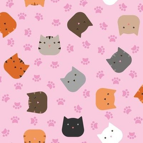 Zuko & Friends - Cat Faces Pink