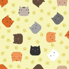 Zuko & Friends - Cat Faces Yellow
