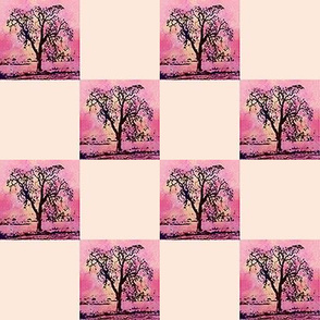 Pink Tree   2 inch check