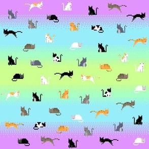Pixel Cats - Lime Cyan Purple