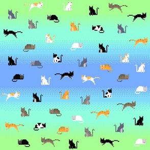 Pixel Cats - Blue Cyan Lime