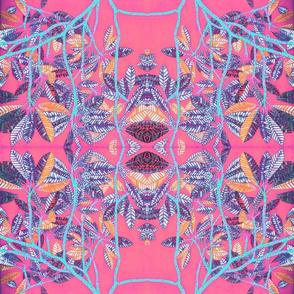 Plumeria leaves pink kaleidoscope