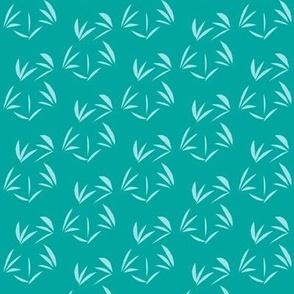 Cornflower Blue Oriental Tussocks on Summer Lake Blue - Small Scale