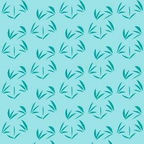 Summer Lake Blue Oriental Tussocks on Cornflower Blue - Small Scale