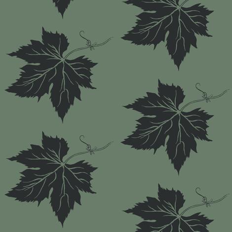 A Charcoal Hop Leaf on Dark Green fabric by a_bushel_of_hops on Spoonflower - custom fabric