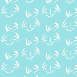 Snowy White Oriental Tussocks on Cornflower Blue