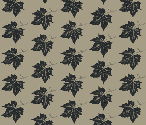 A Charcoal Hop Leaf on Old Linen fabric by a_bushel_of_hops on Spoonflower - custom fabric