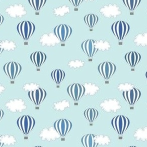 Hot air balloon // blue air clouds baby kids nursery design